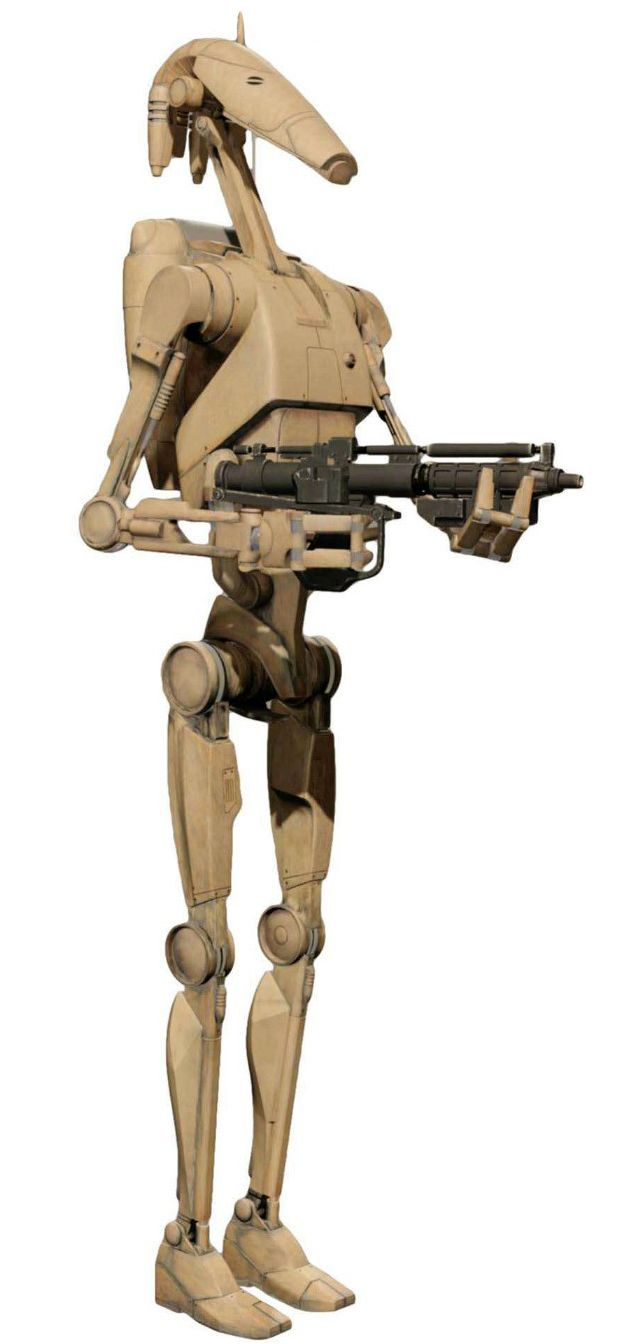 """B1 battle droids were battle droids that made up the backbone of the Trade Federation Droid Army and the Separatist Droid Army. Often called """"Clankers"""" by Galactic Republic clone troopers, they were the successor of both the HKB-3 hunter-killer droid. and the OOM-series battle droid."""