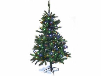Albero di Natale abete pino artificiale Norvegese con 358 rami e 192 luci multicolor. Altezza 150 cm e base d'appoggio in metallo  Misure: Ø 90 cm x 150 H Materiale: Plastica