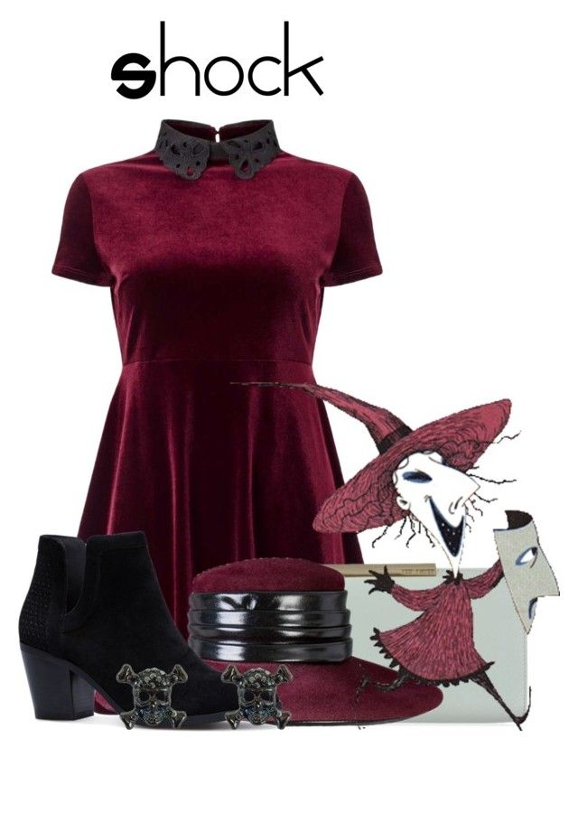 """Shock"" by sjade9 ❤ liked on Polyvore featuring Miss Selfridge, Ted Baker, Halston, modern, disney, disneybound, moderndisney and Thenightmarebeforechristmas"