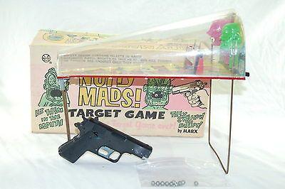 VTG 1960's Louis Marx Nutty Mads Target Game: Gun, Shooting Range, Pellets & Box