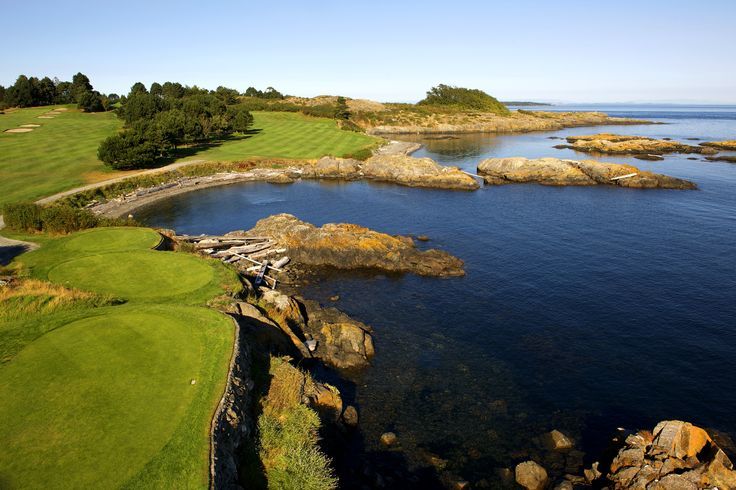 © VGC   Hole 5   The Bay   After you have cleared the bay with your tee shot, this par four features a second beach guarding the right and an intimidating bunker built into the false front. The green is generally conceded to be the fastest on the course; and one of the most-sloped. #golf #golfcourse #westcoast #yyj #victoriagolfclub