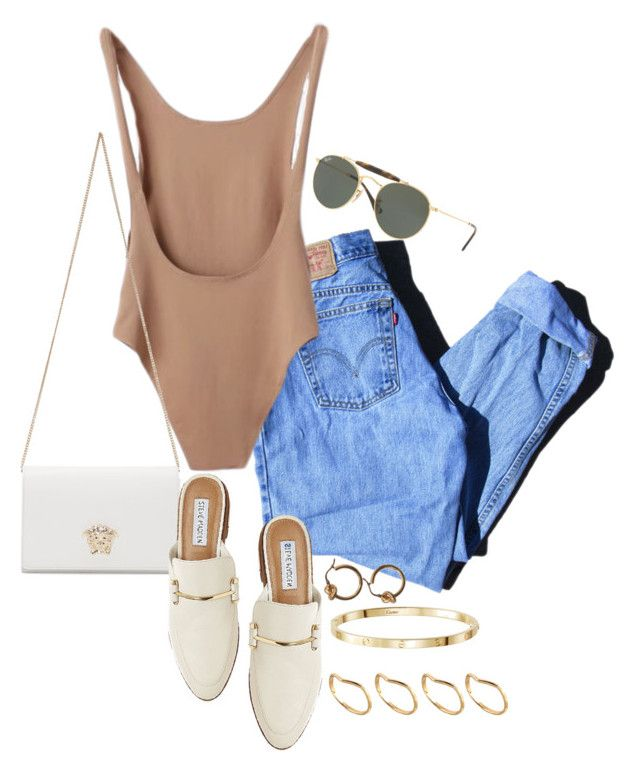 """Sem título #1413"" by manoella-f on Polyvore featuring moda, Levi's, Versace, Steve Madden, Ray-Ban e ASOS"