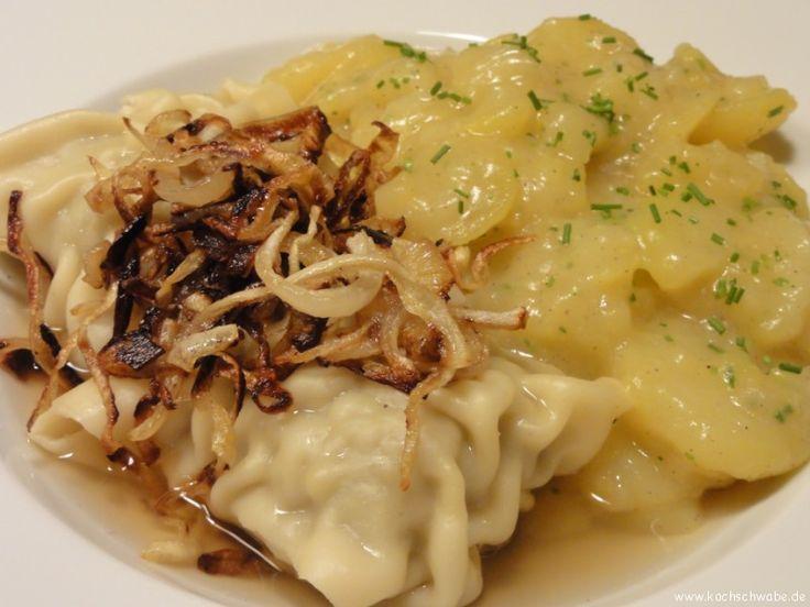 Geschmelzte Maultaschen mit Kartoffelsalat