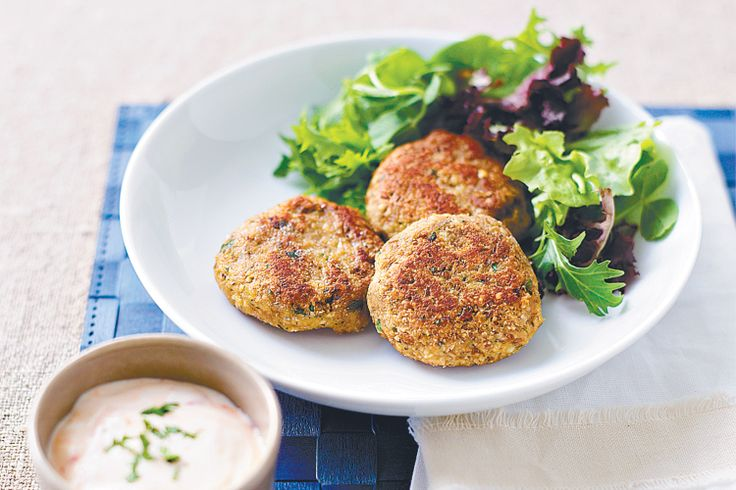 We bet these nut and lentil patties, served with lashings of sweet chilli sauce and yoghurt, won't just be the choice of vegetarians.