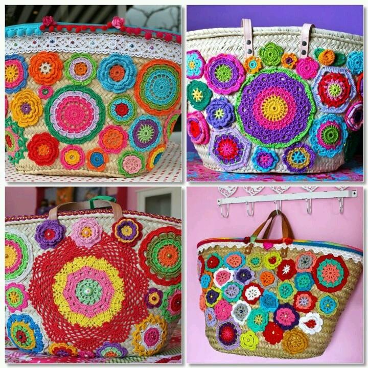 Cestas com aplicações em crochet