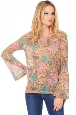 ABSTRACT-FLORAL BOHO TOP BY TRES BIEN CLOTHING