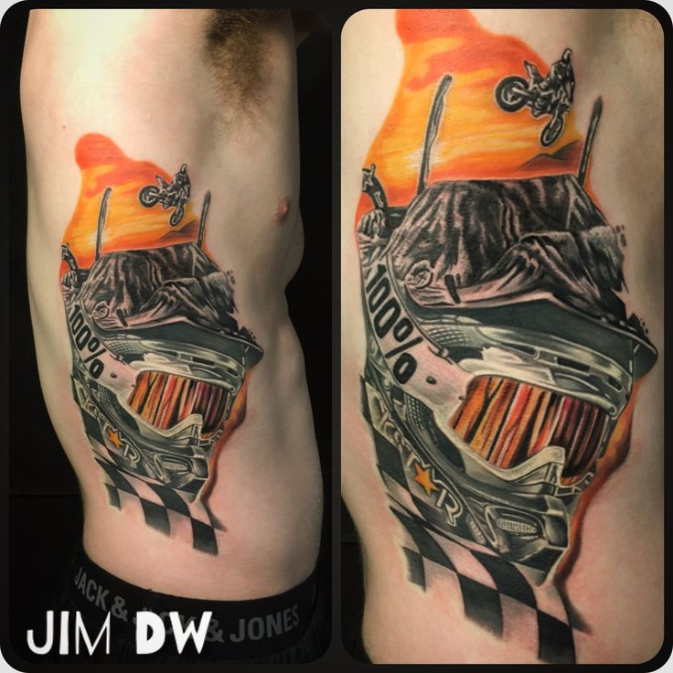 Motocross motorcycle Mxgp tattoo side tattoo ink double exposure race flag by Jim DW