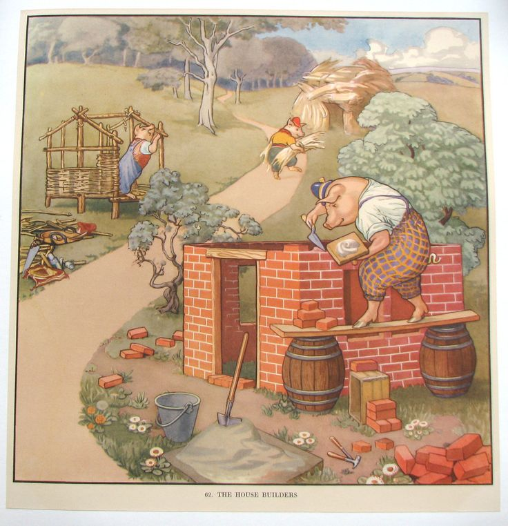 "1930's British Original Antique Children's Three Little Pigs Poster AGE: c. 1930's, lithograph. CONDITION: A, Linen Mounted, Beautiful! At the bottom is printed the number 62 ""The House Builders"" Thes"