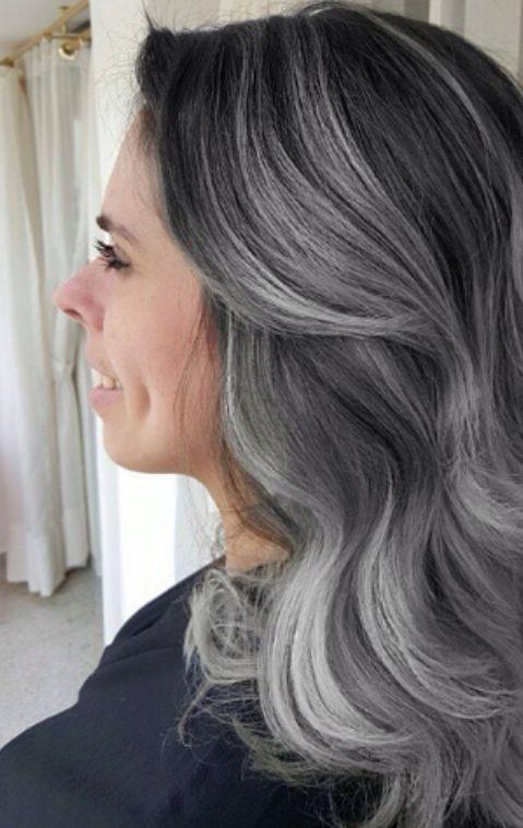 Grey granny balayage hair with dark roots and silver highlights