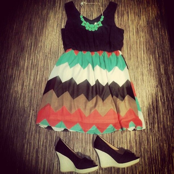 colorful chevron dress with black accents