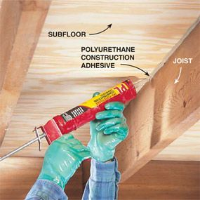 Fix Squeaking floors:  Fill the gap Locate the floor squeak and inject polyurethane construction adhesive into gaps between joists and plywood. Ventilate the area while using this adhesive.  Inject the constructive adhesive into the gap and work it deep with a plastic spoon so it flows toward the nail shanks that are causing the squeaks.