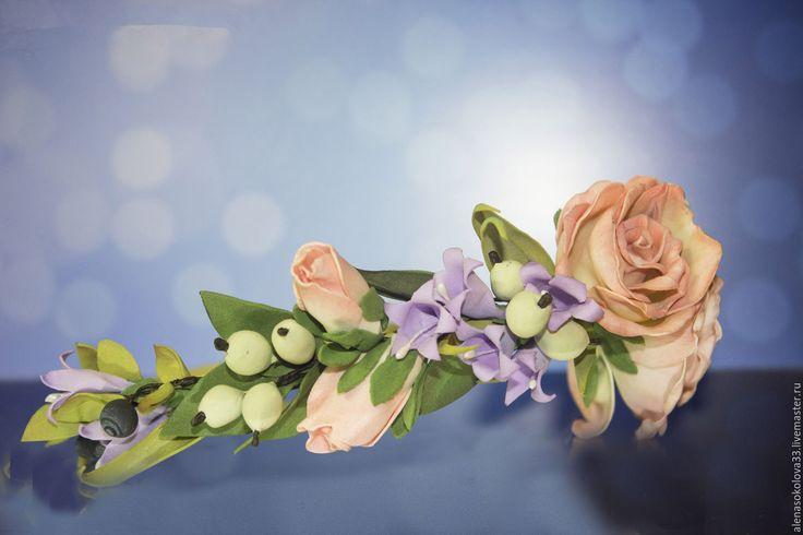 """Купить Ободок """"Лесная роза"""" - разноцветный, ободок для волос, ободок с цветами, ободок с розами"""
