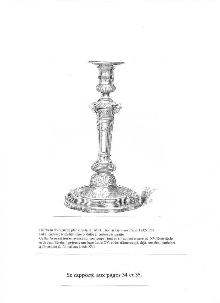 Page 22. Flambeau de Thomas Germain. 1732-1733. Document G. Bapst. Les Germain, sculpteurs-orfèvres du Roi. Paris. 1887. Pinterest/disdierdefay