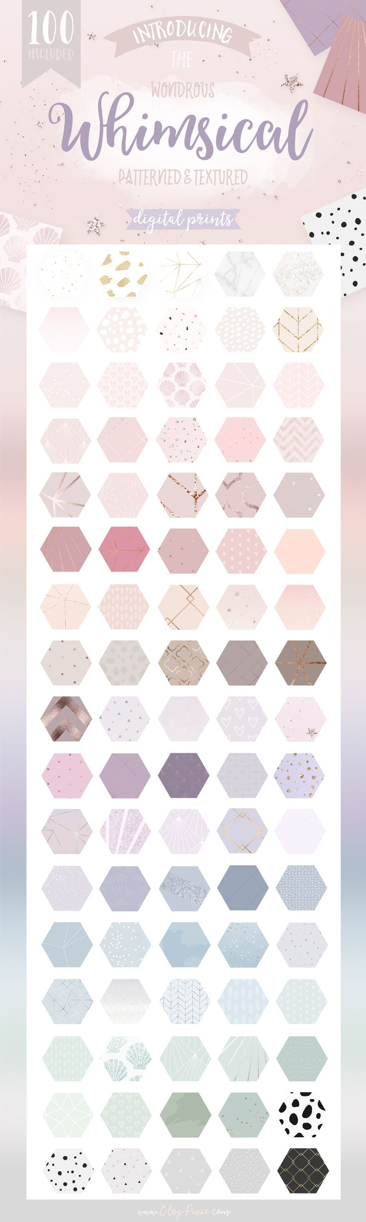 Whimsical patterns for branding and design by Blog Pixie. A pretty, feminine collection of patterned prints with glitter and metallic foil textures. Use these patterns for branding, blogging or business. Perfect for backgrounds, typography, blog graphics and more. Find them now at Creative Market.