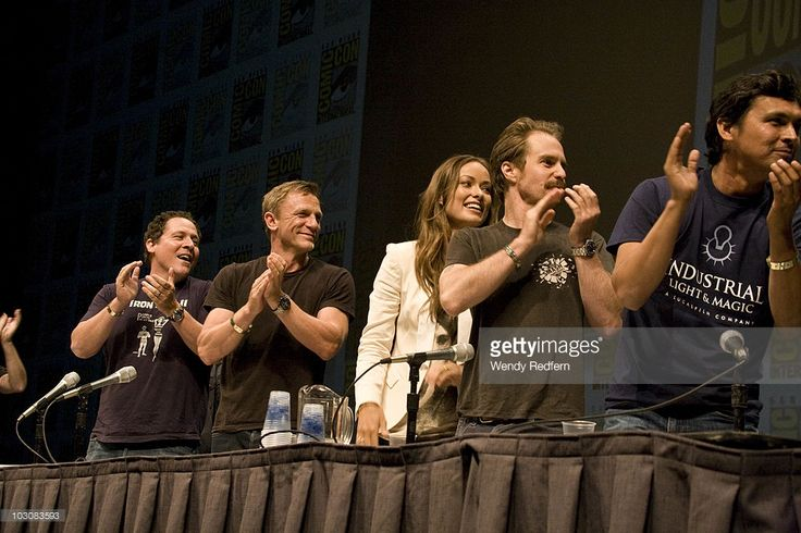 Jon Favreau, Daniel Craig, Olivia Wilde and and Sam Rockwell speak at the Cowboys and Aliens panel at Comic-Con on July 24, 2010 in San Diego, California.