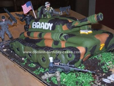 Homemade Army Tank Cake: My Grandson wanted a 'GI*Joe' homemade army tank cake for his 7th birthday, so I found your site and started looking. I found lots of ideas from many different