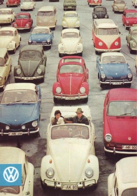 My parents would have been very happy here in the 70's. They had a red VW bus, a yellow VW bug, and a red MGB convertible. (I know, I know...One of these things is not like the other...) ~ETS