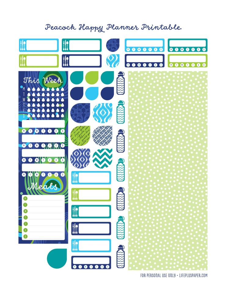 LifePlusPaper.com Happy Planner Free Printable Peacock 5