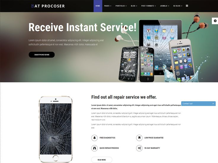 AT Procoser is free mobile maintains Joomla template tailored for mobile maintains and computer repair service template website. It's really modern and cooperative. This excellent template comes with a clean and light design using soft-colors, which makes it suitable for setting up any computer repair service template website. This is professional template to present your pricing plans, professional computer repair service and business partners.