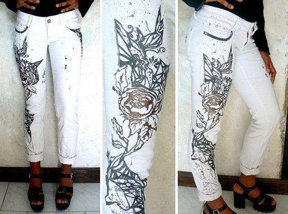 Moda bianco Jean, jean pizzo bianco jean pizzo, jean modellato, personalizzato jean, tribal jean, jean grafico, jean swag bianco,.