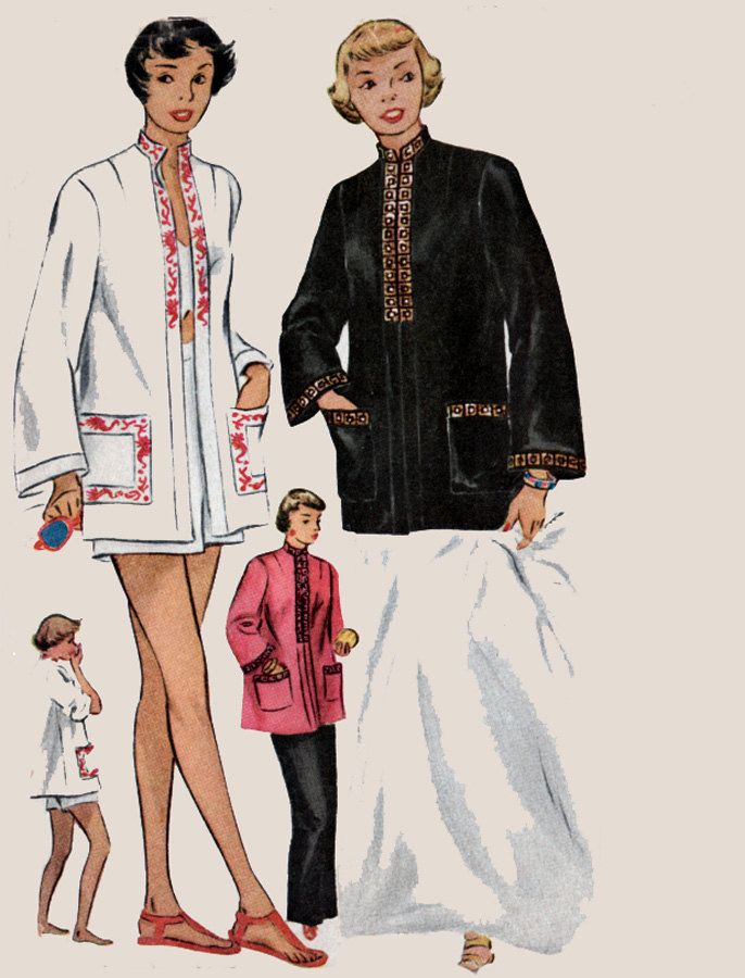 1950s  Casual Coat for Beach or Evening w/ Mandarin Collar McCall 1524 Vintage 50s Rockabilly Sewing Pattern Womens Size 12 UNCUT…