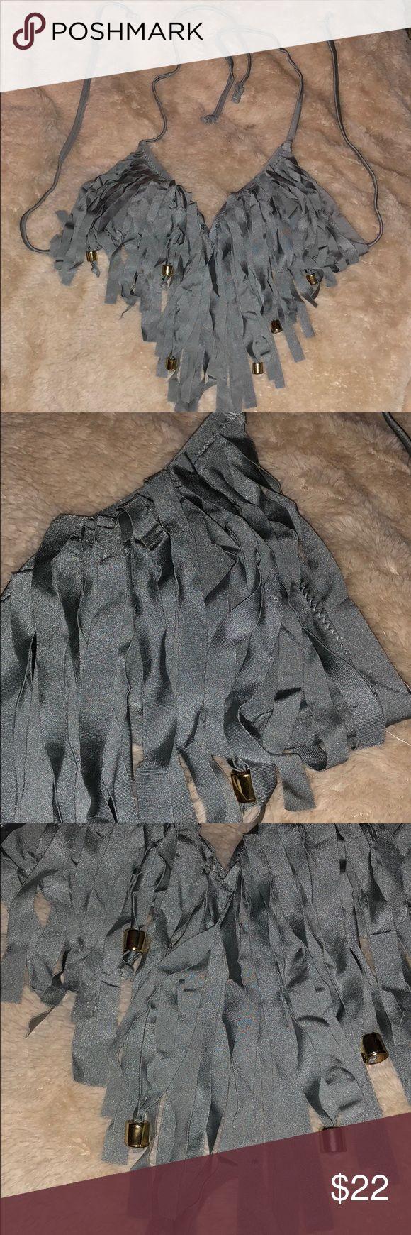 Gray Fringed Triangle Bikini Top w/Gold Beads No brand tag. Australian size 10. Good condition see photos. Removable pads. Swim Bikinis