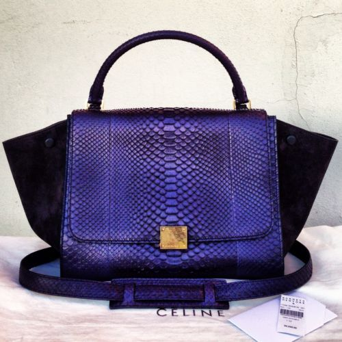 CELINE SMALL TRAPEZE NAVY BLUE INK SNAKESKIN PYTHON LEATHER BAG ...
