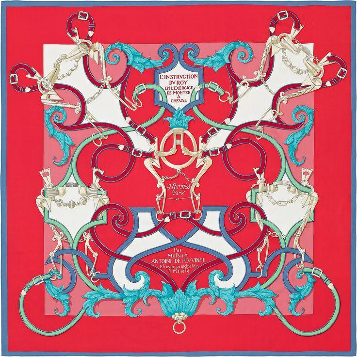 L'Instruction du Roy | 2016年春夏コレクション |《帝王学》| カレ・ジェアン ツイル・プリュム | シルクツイル シルク 100% | サイズ: 140×140 cm ~ アンリ・ドリニー によるデザイン | 商品番号 : H431761S 10 rouge | ¥112,320