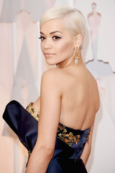 Rita Ora - Sleek and Sophisticated Platinum Blonde Pixie/Short Bob
