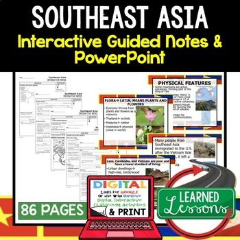Southeast Asia Guided Notes and PowerPoints, World Geography ➤World Geography Guided Notes, Interactive Notebook, Note Taking, PowerPoints, Anticipatory Guides These interactive guided notes and PowerPoints are great for