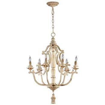 Maison French Country Antique White  6 Light Chandelier. This is the perfect romantic touch our master bedroom needs