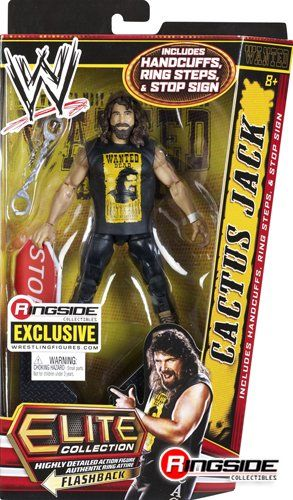 """""""HARDCORE LEGEND"""" CACTUS JACK – RINGSIDE COLLECTIBLES ELITE EXCLUSIVE MATTEL TOY WRESTLING ACTION FIGURE  """"HARDCORE LEGEND"""" CACTUS JACK – RINGSIDE COLLECTIBLES ELITE FLASHBACK EXCLUSIVE MATTEL WWE TOY WRESTLING ACTION FIGURE Accessories include Black Steel Steps, Handcuffs, Stop Sign & Molded """"Wanted"""" Cactus Jack T-Shirt! Accessories include Black Steel Steps, Handcuffs, Stop Sign & Molded """"Wanted"""" Cactus Jack T-Shirt! Limited Edition Cactus Jack Figure with Elite Style Articulation!.."""