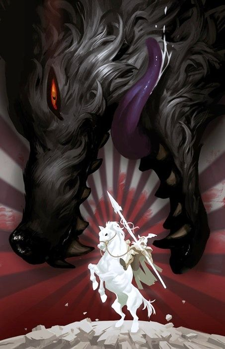 """Fenrir and Odin"" whoever drew this only gave Sleipnir 4 legs.... but the perspective is excellent.  BIG wolf... tiny supreme being on a horse... welcome to Ragnarok-sb"