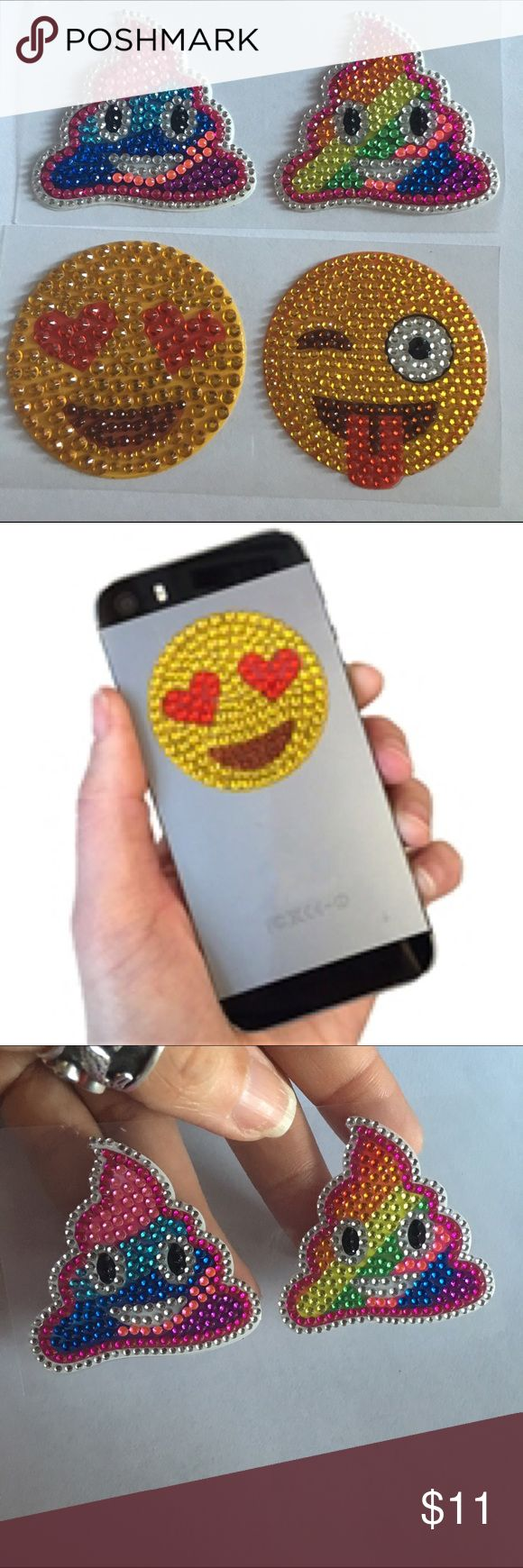 Emoji rainbow poop sticker patch bling set iPhone Super cute emoji emoticon poop & smiley faces love sticker patches                       Emoticon emoji bling sticker patches   great for phones, books, and tablets to name but a few each sticker measures 1.75″ you get all 4 stickers in picture Accessories Phone Cases