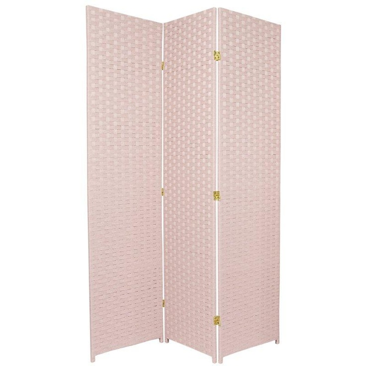 6ft tall woven fiber room divider screen in light pink