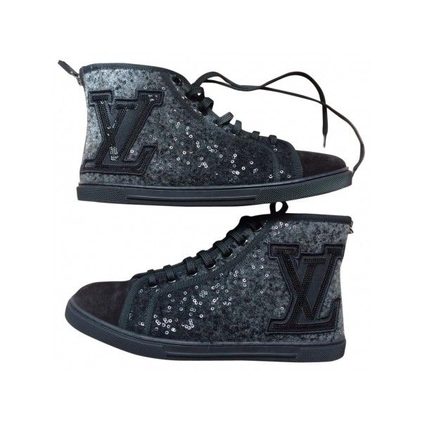 Pre-owned Louis Vuitton Trainers ($461) ❤ liked on Polyvore featuring shoes, sneakers, rhinestone shoes, louis vuitton sneakers, zipper sneakers, zipper high tops and louis vuitton trainers