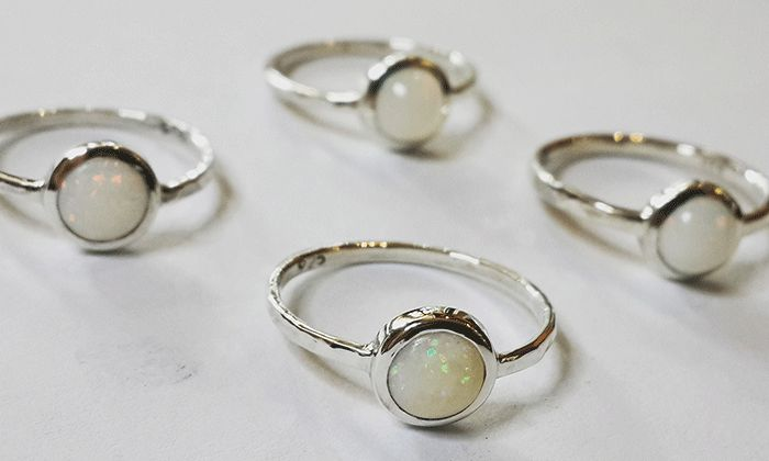 Matching opal rings with hammers bands. #opal #Opaljewelry #silver #handmade #designer #christmasgift #friendshiprings