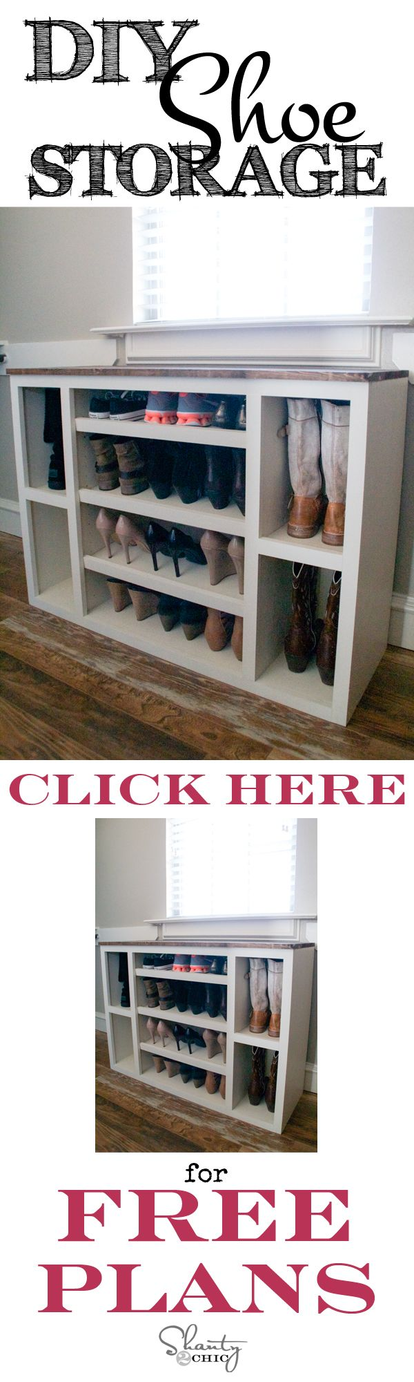 DIY Shoe Storage Cabinet // Free Plans at Shanty-2-Chic.com