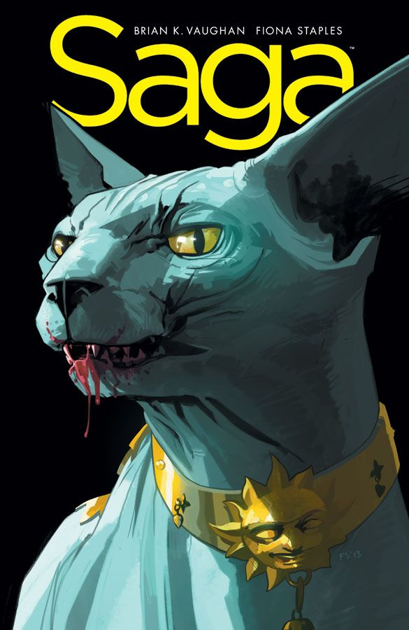 Lying Cat on the cover, Saga #18 Brian K. Vaughn writer, Fiona Staples artist comic book love
