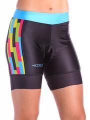Women's Padded Cycling Shorts in Mix Tape Design