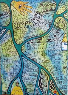 Rosie's Arty Stuff - slow journalling with wavy lines and writing that goes from top of line to bottom.  Love the map-ish effect.  Looks like a river dividing the sections.