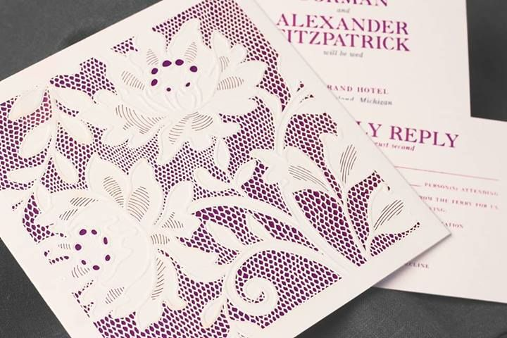Vera Wang - Alencon Lace. Modern and fresh with Orchid underlay as shown; can be customized with gold, pearl or periwinkle blue. Available at Your Occasion.