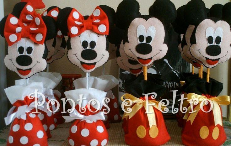 Mickey @ Minnie   Feltro - Mickey e Minnie - Centro de Mesa - CÓD ( BL MMPESO 114)