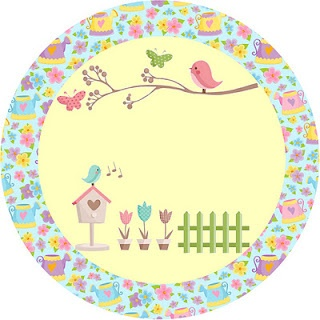 Fazendo a Minha Festa!: Jardim de Flores Rosa e Azul - Kit Completo com molduras para convites, rótulos para guloseimas, lembrancinhas e imagens!