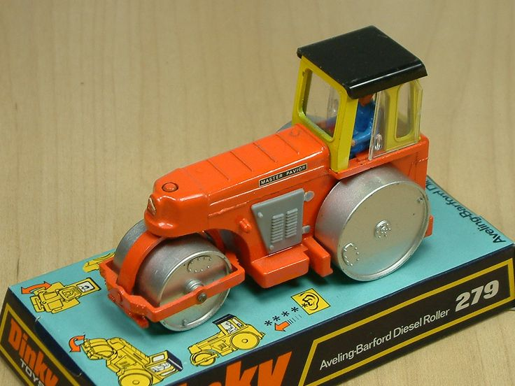 Dinky Toys Averling-Barford Diesel Road Roller. Featured diesel sound effect when moved via an internal flicker. This diecast model was produced between 1965 and 1980.