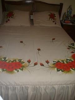 Colcha Casal - Rosas vermelhas