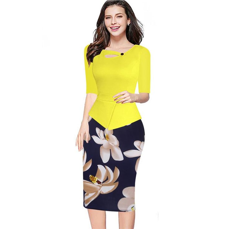 Women One Piece Patchwork Floral Print Elegant Business Party Formal Office Plus Big Size Bodycon Pencil Casual Work Dress 147