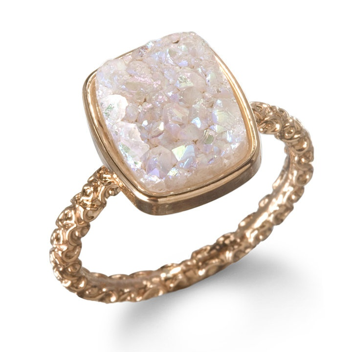 alternative engagement ring. dara ettinger nadia stackable druzy ring. available at charm