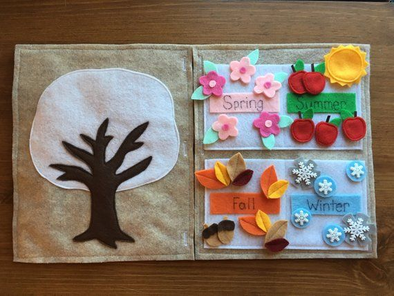 4 seasons quiet book page: preschool learning, activity, spring, summer, autumn, winter, decorate the tree, flowers, apples, leaves, snowflakes