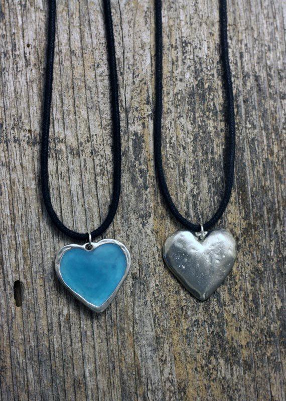 Glow Heart silver pewter pendant by EarthlyCreature on Etsy